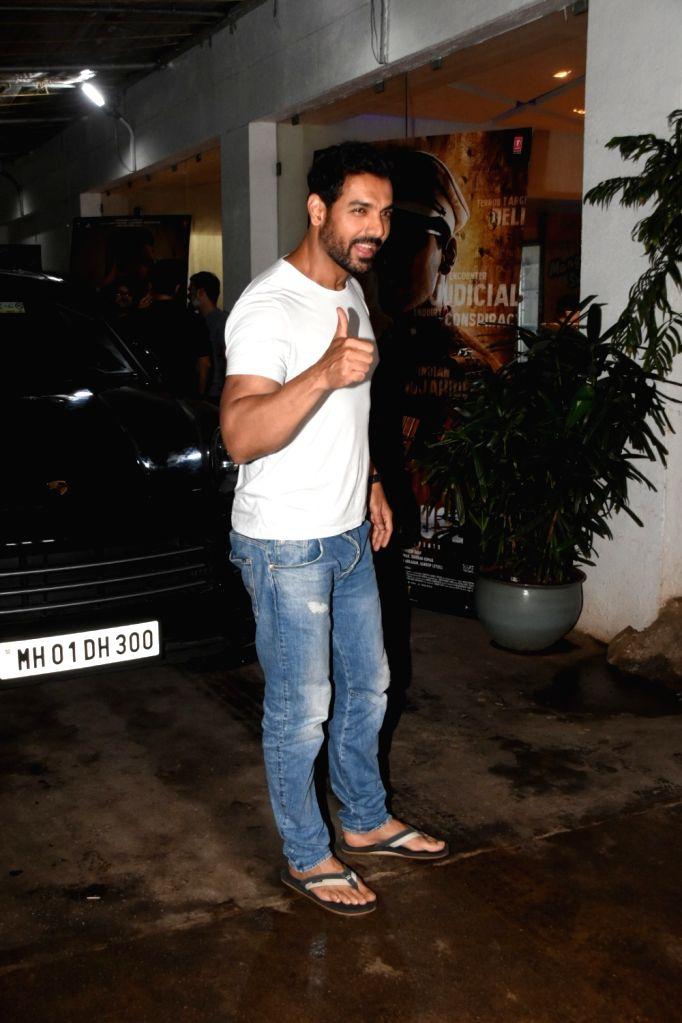 "Actor John Abraham at the screening of his upcoming film ""Batla House"" in Mumbai on Aug 13, 2019. - John Abraham"