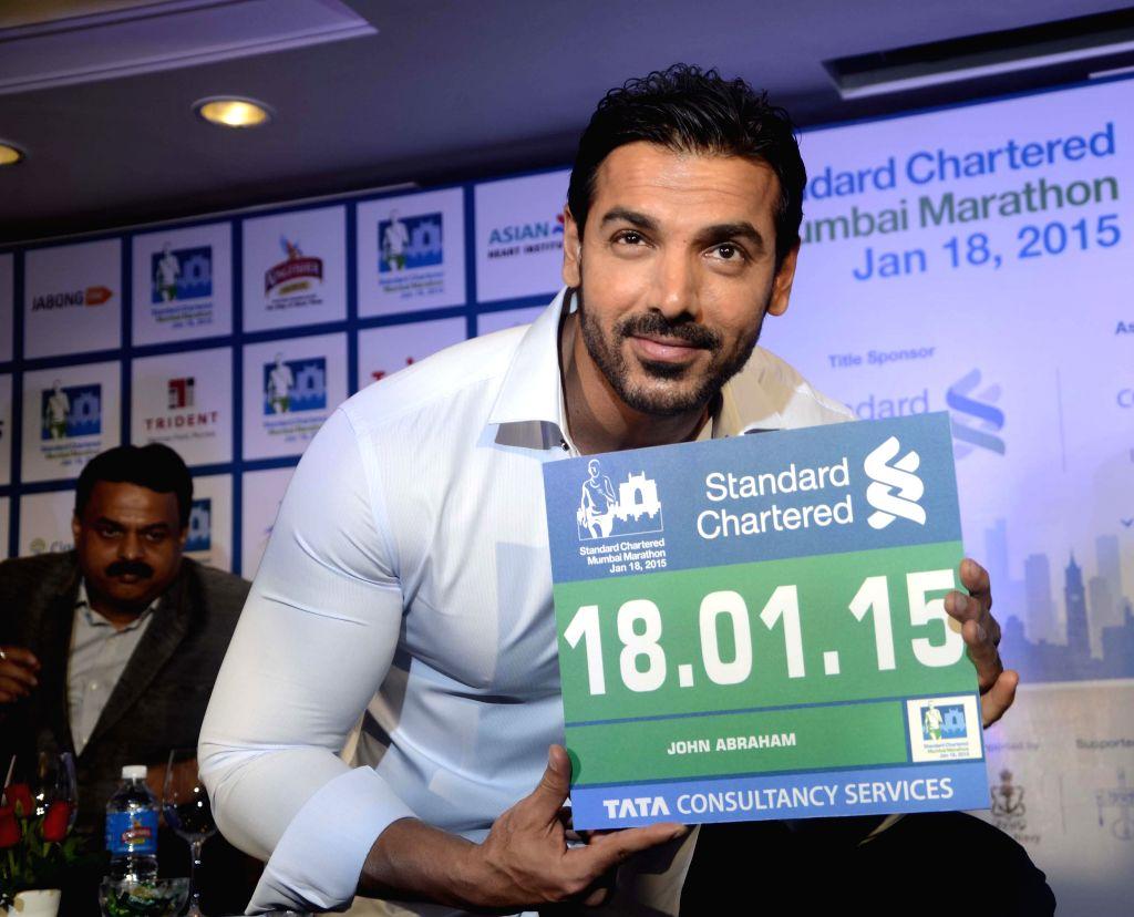 Actor John Abraham during a press conference to announce Mumbai Marathon 2015 in Mumbai on July 22, 2014.