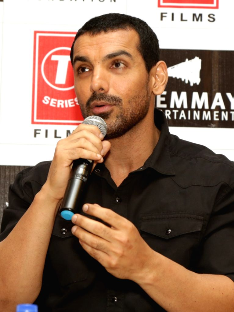 "Actor John Abraham during a press meet to promote his upcoming film ""Satyameva Jayate"" in New Delhi on Aug 10, 2018. - John Abraham"