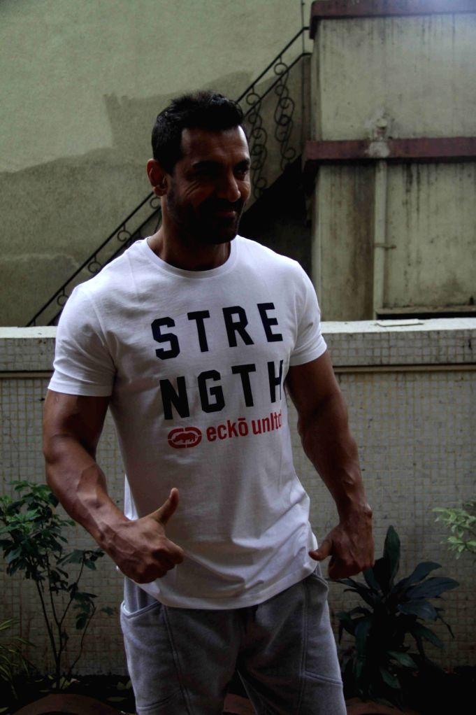 Actor John Abraham during the promotion of film Dishoom at Gold's Gym in Mumbai on July 9, 2016. - John Abraham