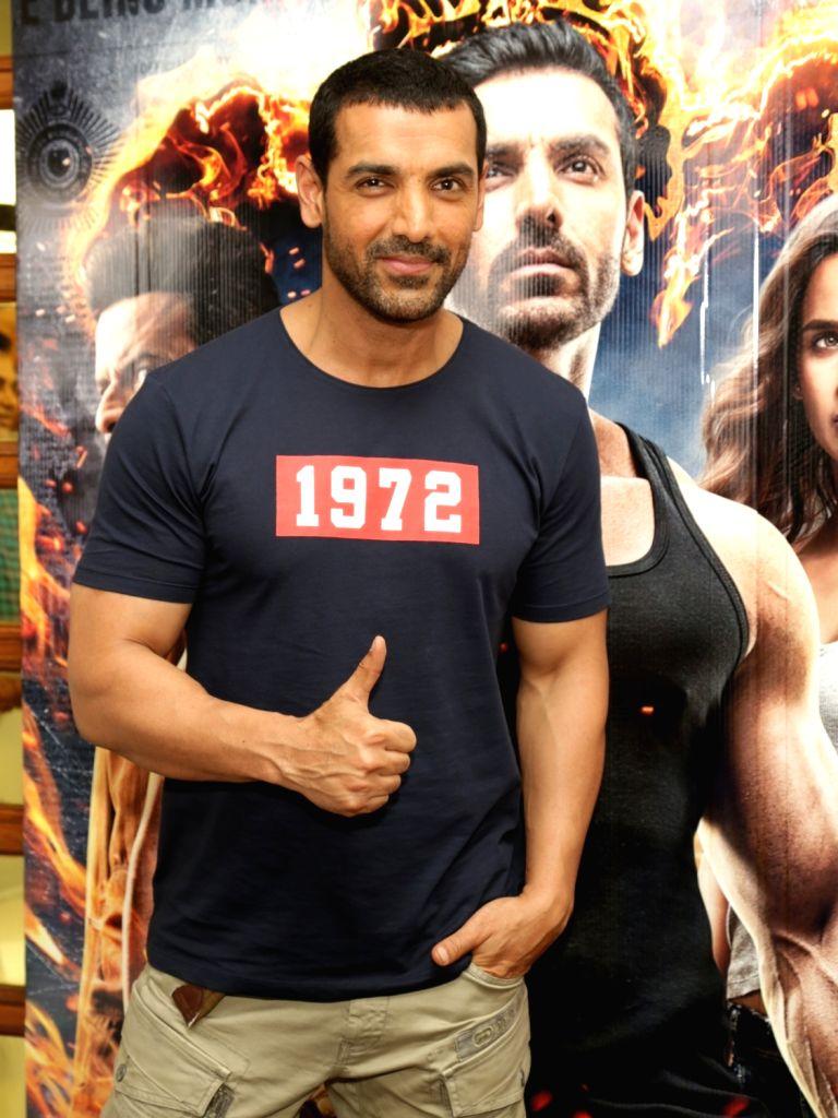 "Actor John Abraham during the promotion of his upcoming film ""Satyameva Jayate"" in New Delhi on Aug 9, 2018. - John Abraham"