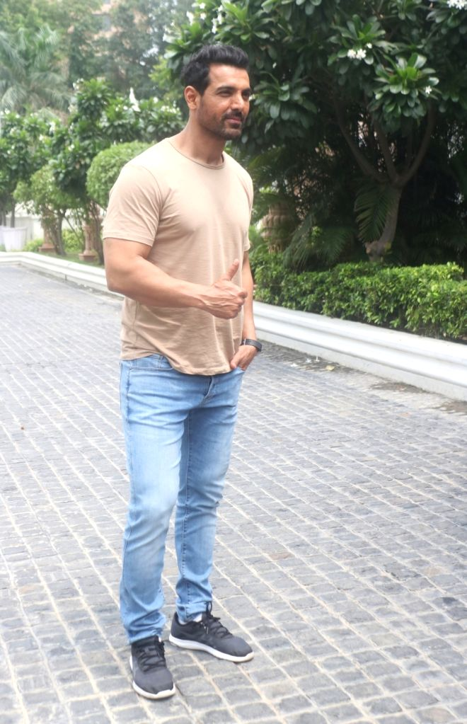 """Actor John Abraham during the promotions of his upcoming film """"Batla House"""" in New Delhi on Aug 3, 2019. - John Abraham"""