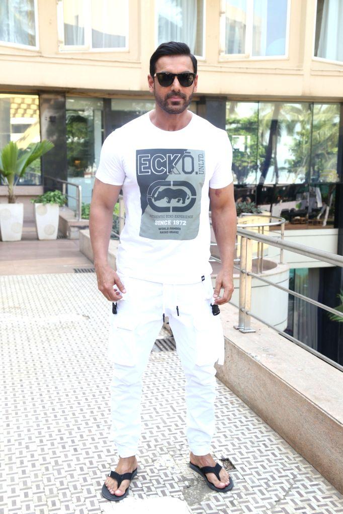 "Actor John  Abraham during the promotions of his upcoming film ""Pagalpanti"" in Mumbai on Nov 14, 2019. - John"