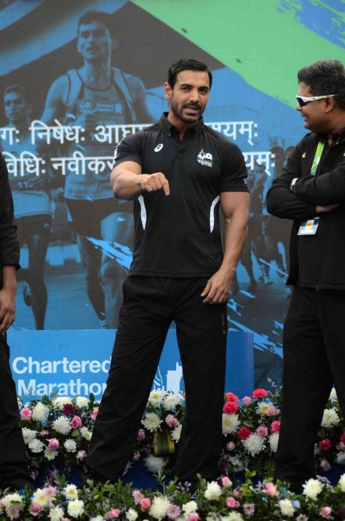 Actor John Abraham during the Standard Chartered Mumbai Marathon 2016 on Jan 17, 2016.