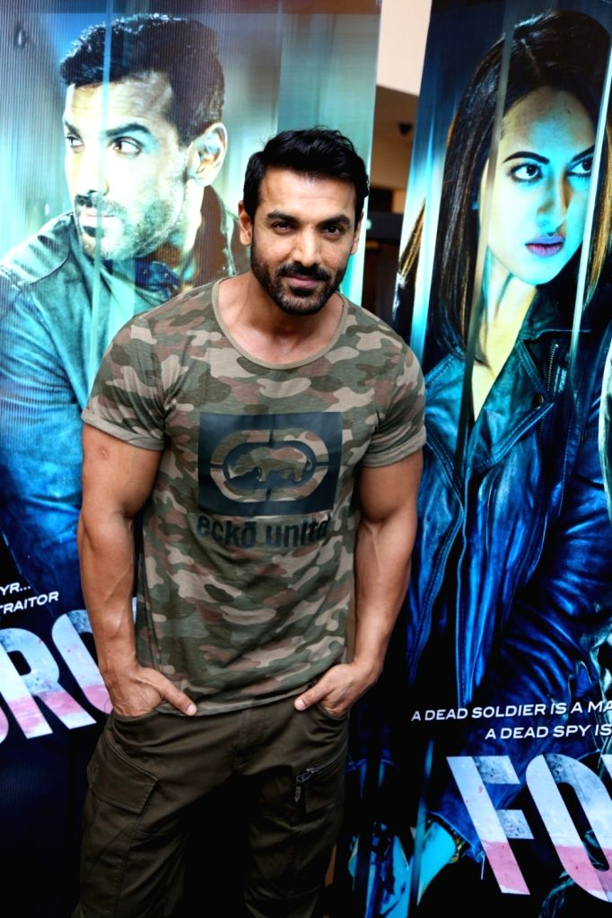Actor John Abraham during the trailer launch of film Force 2, in Mumbai, on Sept 29, 2016. - John Abraham