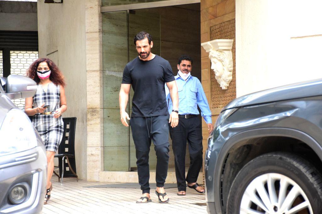 Actor John Abraham seen at Bandra in Mumbai on Sep 28, 2020. - John Abraham