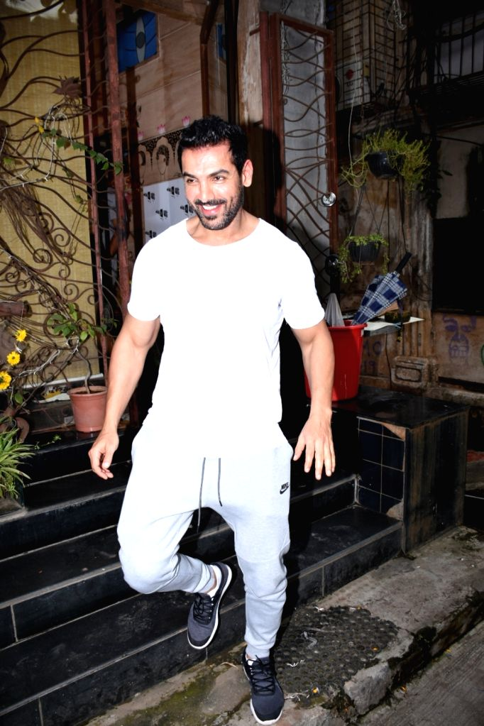 Actor John Abraham seen at Bandra in Mumbai, on July 16, 2019. - John Abraham