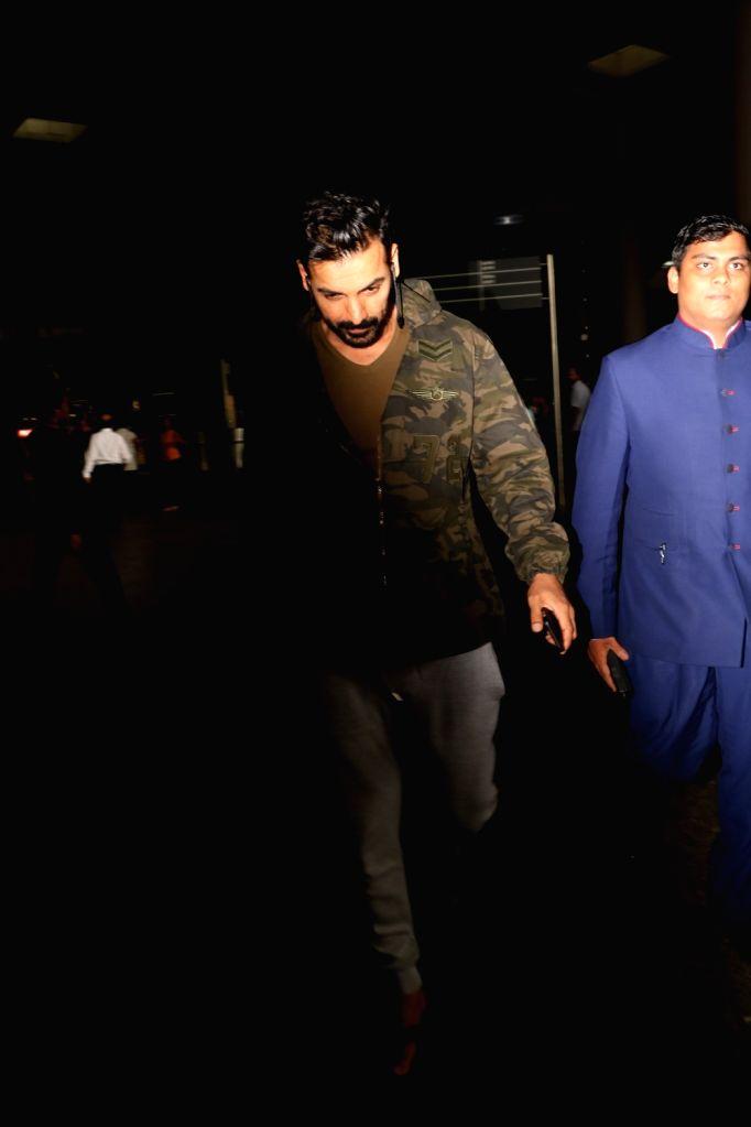 Actor John Abraham spotted at Chhatrapati Shivaji Maharaj International Airport in Mumbai on June 9, 2017. - John Abraham