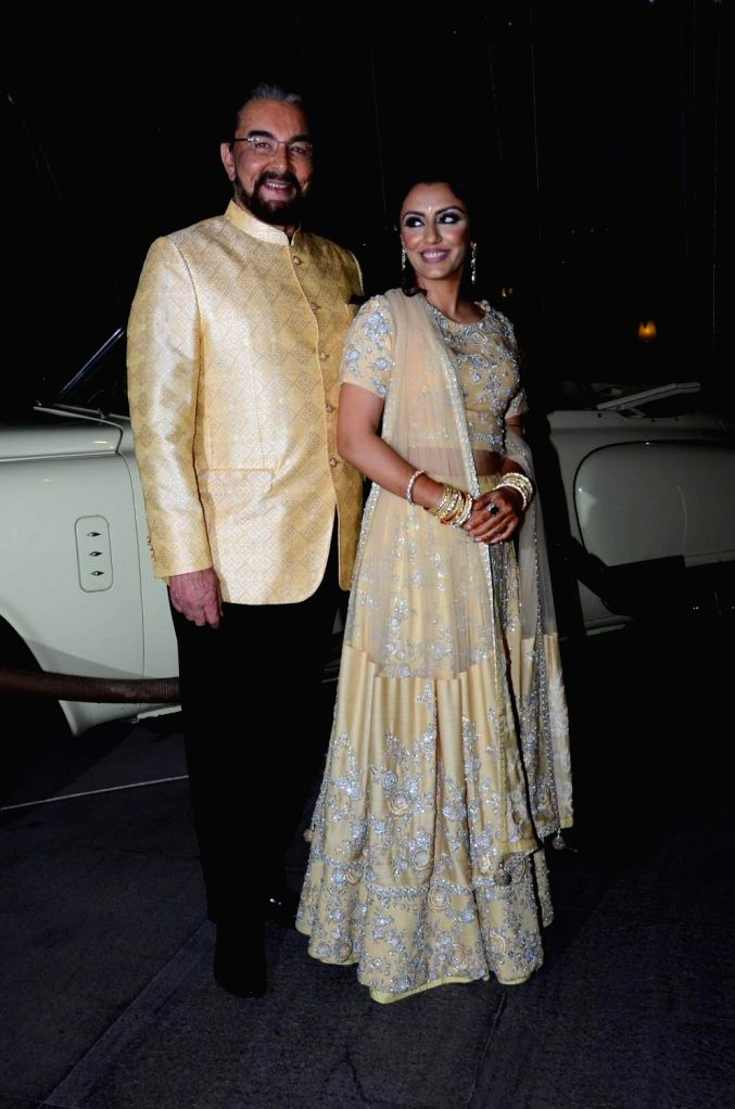 Actor Kabir Bedi along with his wife Parveen Dusanj during his birthday celebrations in Mumbai, on Jan 16, 2016.