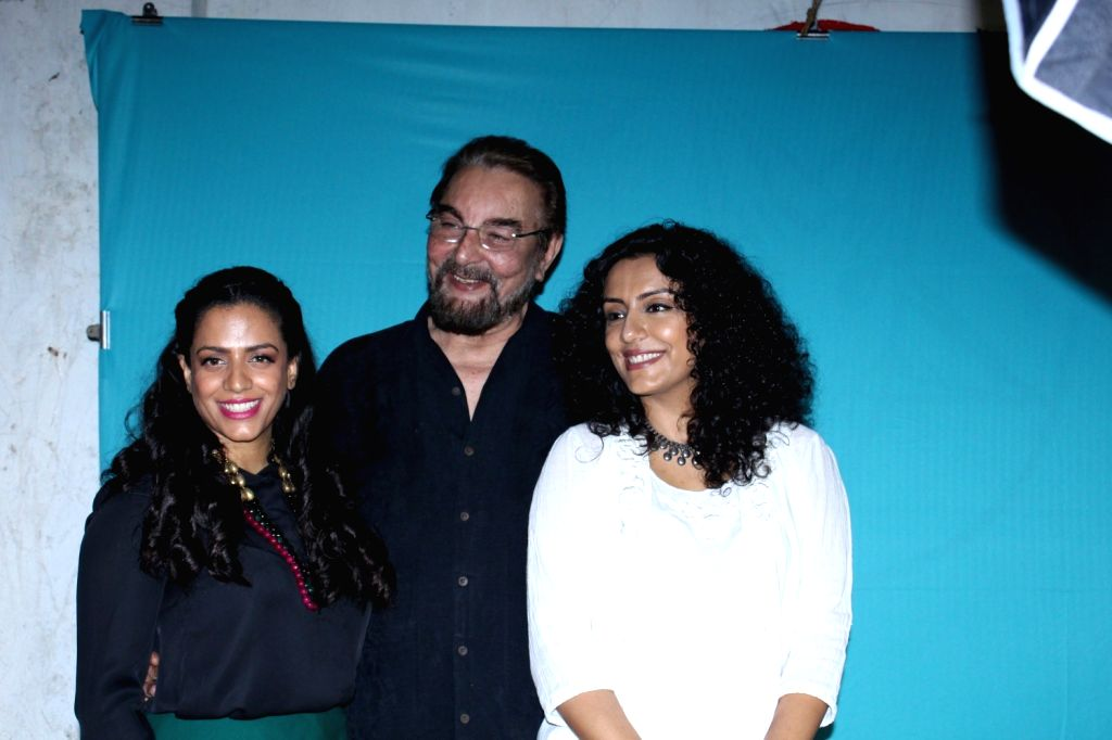 Actor Kabir Bedi along with his wife Parveen Dusanj and Suki Dusanj during the screening of short film The True Cost in Mumbai on Nov 21, 2016. - Kabir Bedi