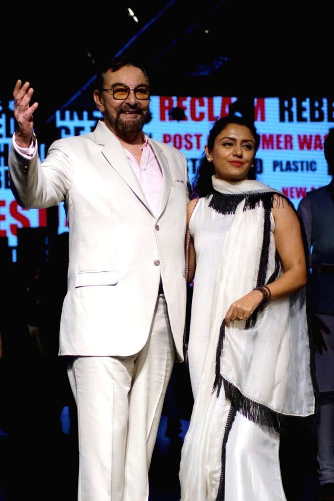 Actor Kabir Bedi along with his wife Parveen Dusanj during the Lakme Fashion Week 2017 in Mumbai on Aug 17, 2017. - Kabir Bedi