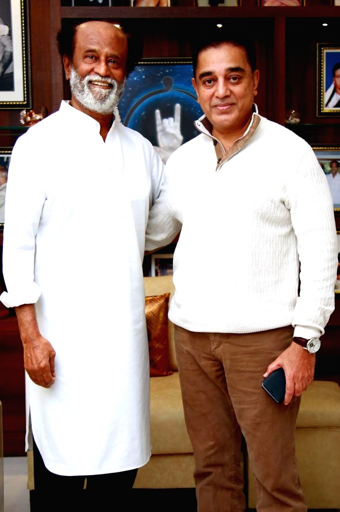 Actor Kamal Hassan calls on actor turned politician Rajinikanth in Chennai on Feb 18,. 2018. - Kamal Hassan