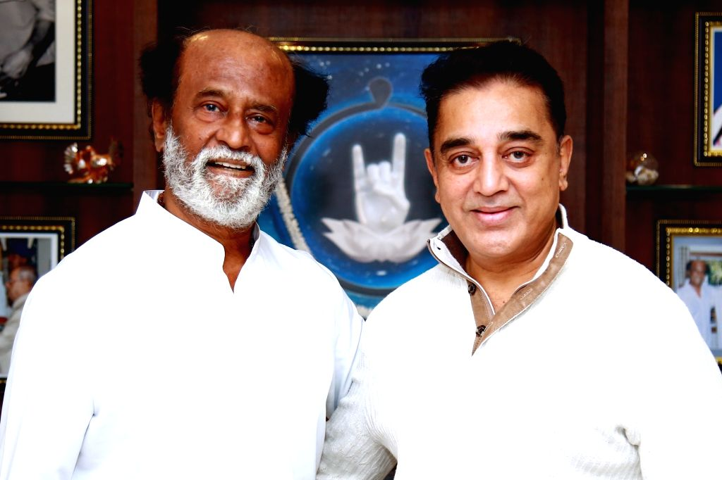 Actor Kamal Hassan calls on actor turned politician Rajinikanth in Hyderabad. - Kamal Hassan