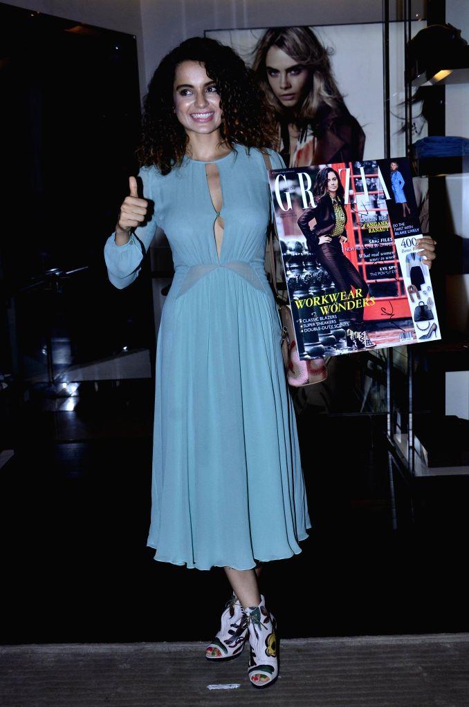 Actor Kangana Ranaut during the cover launch of Grazia Magazine in Mumbai, on August 1, 2014.