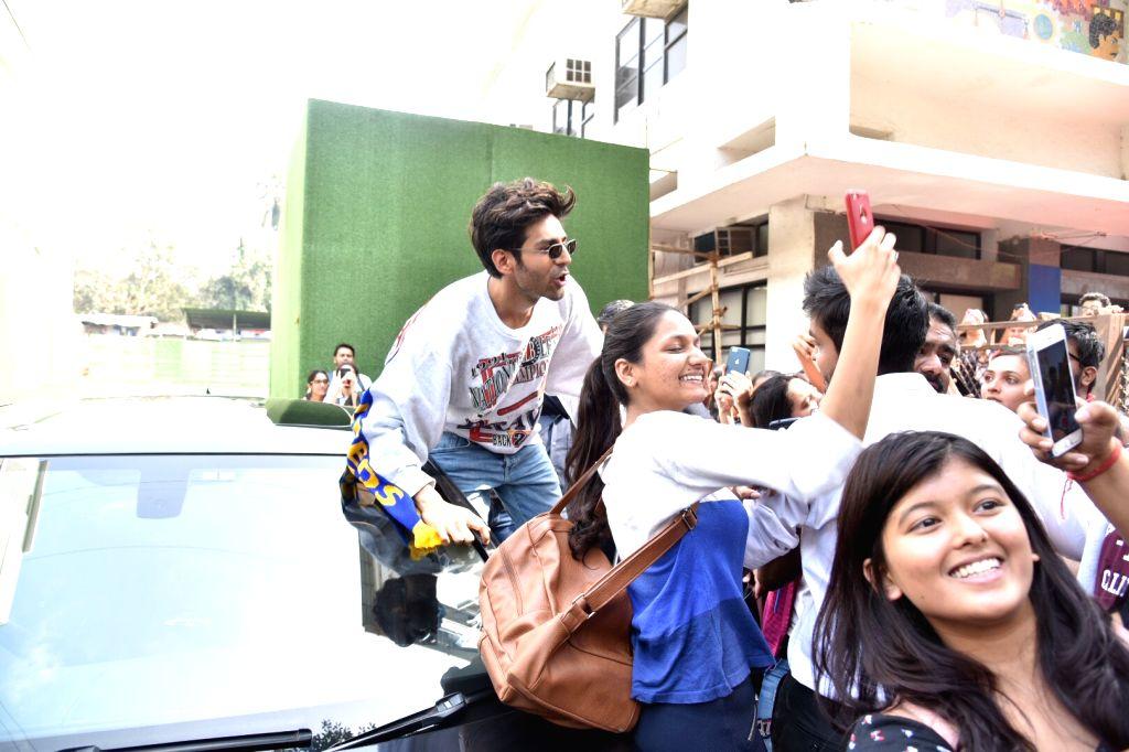 """Actor Kartik Aaryan at the launch of """"Luka Chuppi"""" new song 'photo' at Mumbai's Mithibai College on Feb 12, 2019. - Kartik Aaryan"""