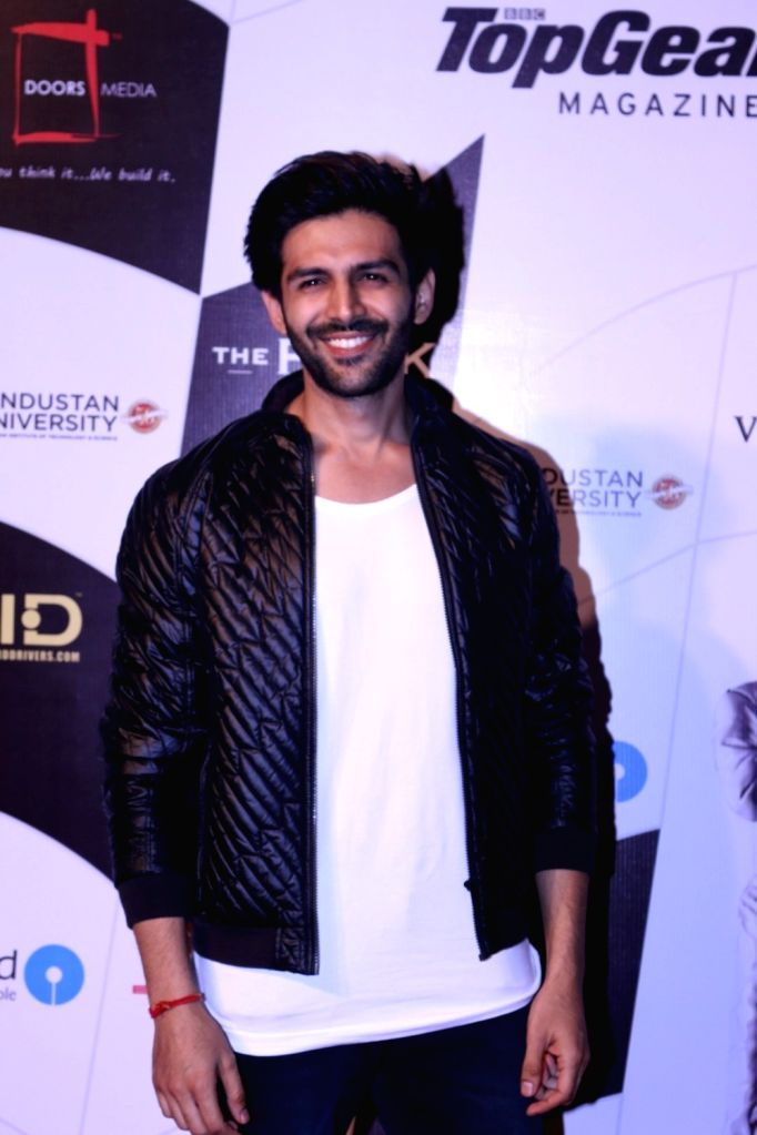 Actor Kartik Aaryan during the 9th Topgear Magazine Awards in Mumbai on Jan 25, 2017. - Kartik Aaryan