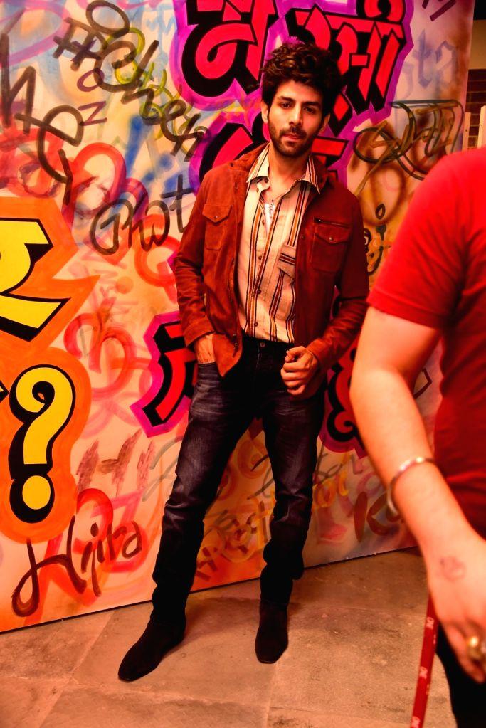 "Actor Kartik Aaryan during the promotions of upcoming film ""Love Aaj Kal 2"", in Mumbai on Feb 9, 2020. - Kartik Aaryan"