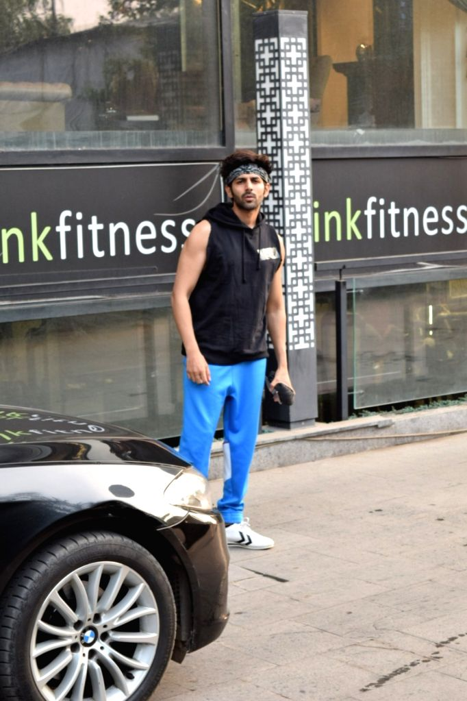 Actor Kartik Aaryan seen at a Mumbai gym on Oct 8, 2019. - Kartik Aaryan