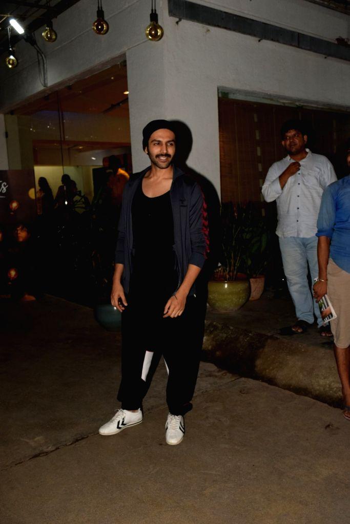 Actor Kartik Aaryan seen at a recording studio at Juhu in Mumbai on Oct 18, 2019. - Kartik Aaryan