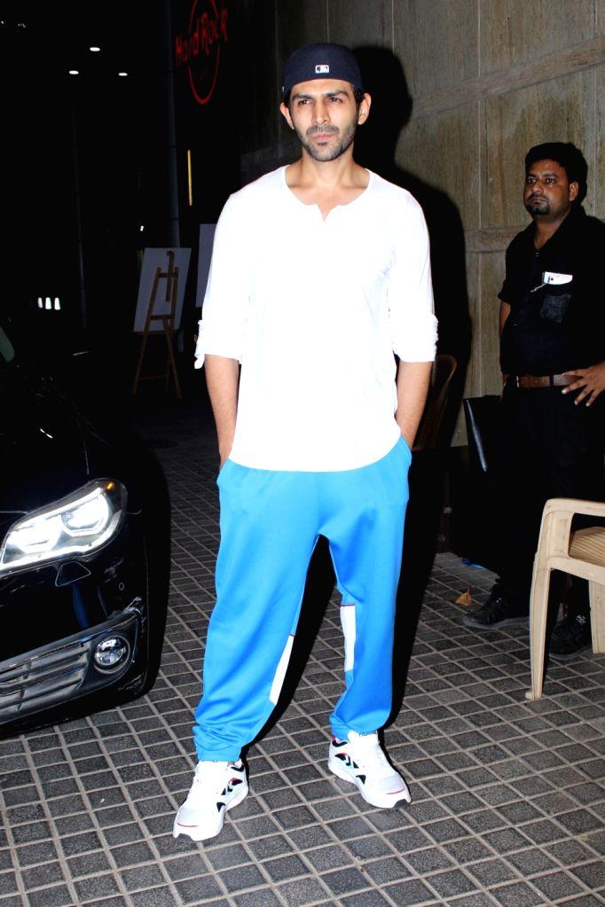 "Actor Kartik Aaryan seen at the screening of upcoming film ""India's Most Wanted"", in Mumbai, on May 23, 2019. - Kartik Aaryan"