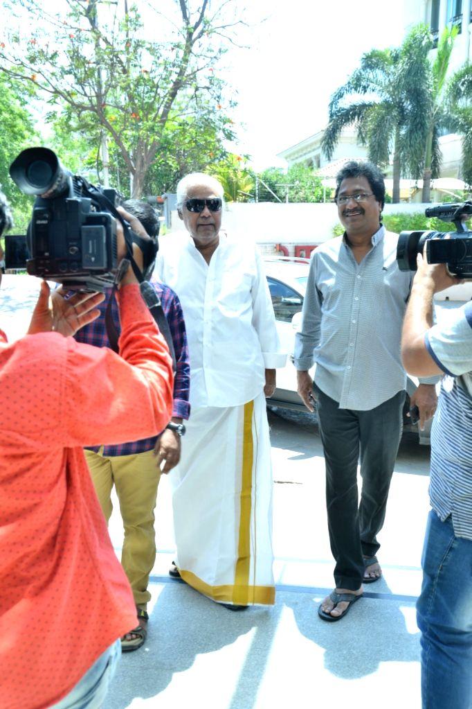 Actor Kota Srinivasa Rao arrives at a polling station to cast vote for Lok Sabha election, in Hyderabad, on April 11, 2019. - Kota Srinivasa Rao