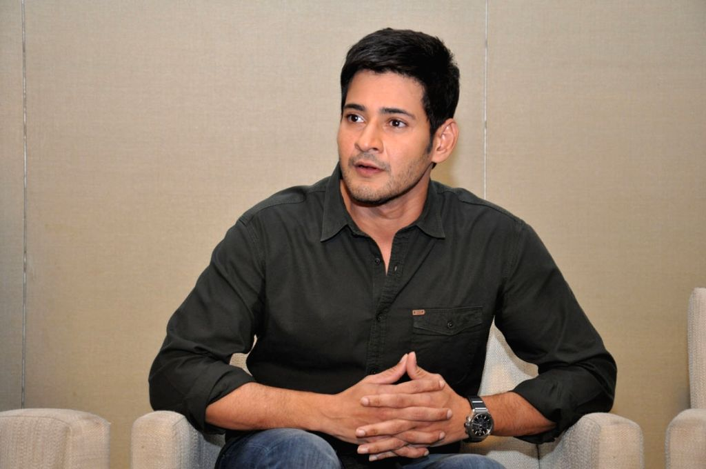 Actor Mahesh Babu during the press meet.