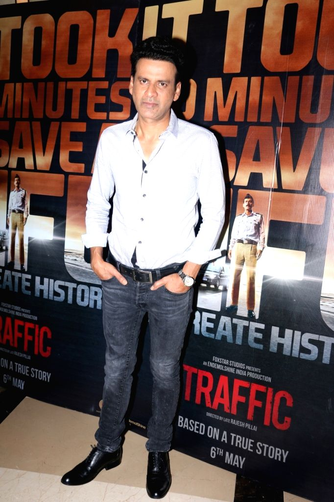 Actor Manoj Bajpayee during the screening of film Traffic in Mumbai on May 5, 2016. - Manoj Bajpayee