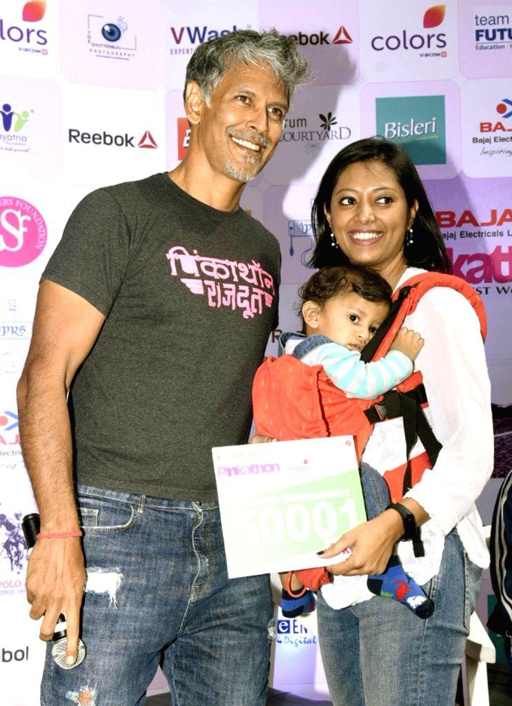 Actor Milind Soman during a programme organised to announce Kolkata Pinkathon with cancer survivors in Kolkata on Feb 5, 2019. - Milind Soman