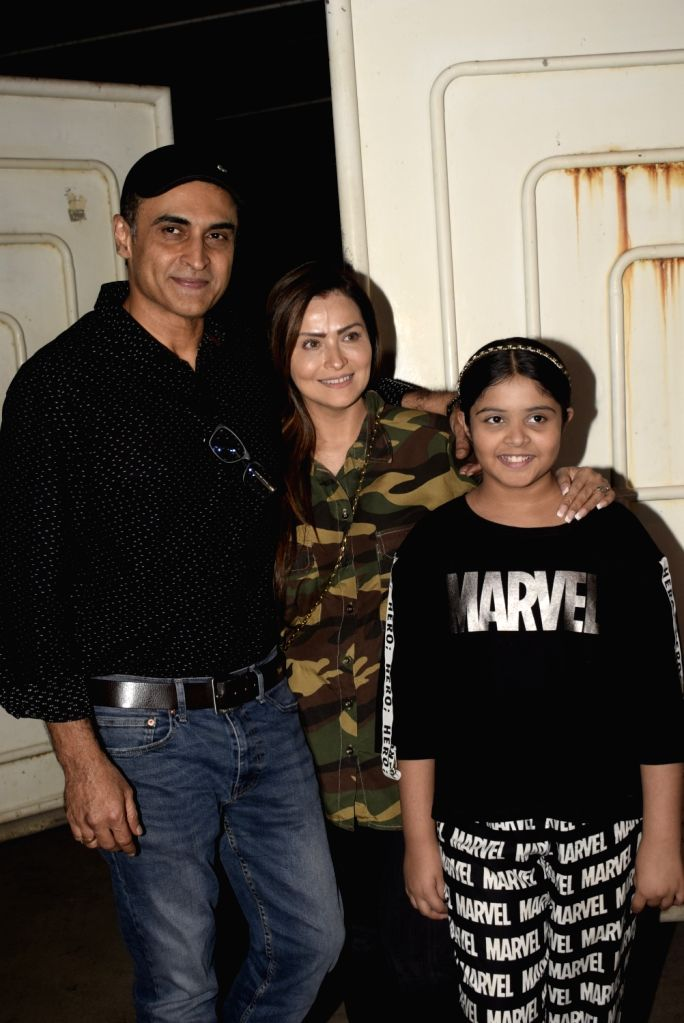 "Actor Mohnish Bahl with his family at the screening of an upcoming film ""Notebook"" in Mumbai, on March 4, 2019. - Mohnish Bahl"