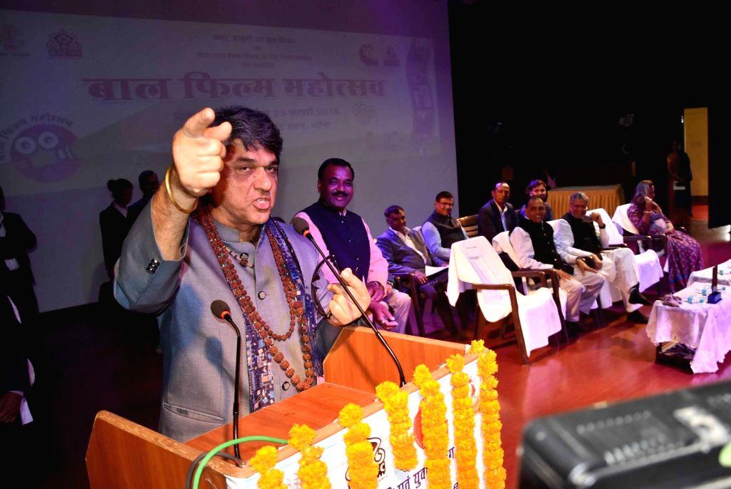 Actor Mukesh Khanna addresses during a programme in Patna on Feb 21, 2019. - Mukesh Khanna