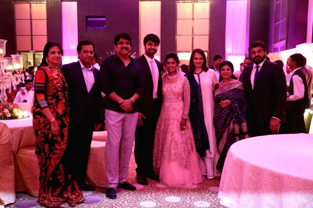 Actor Nagarjuna, Amala, Chiranjeevi, Surekha at Srija Wedding Reception. - Nagarjuna