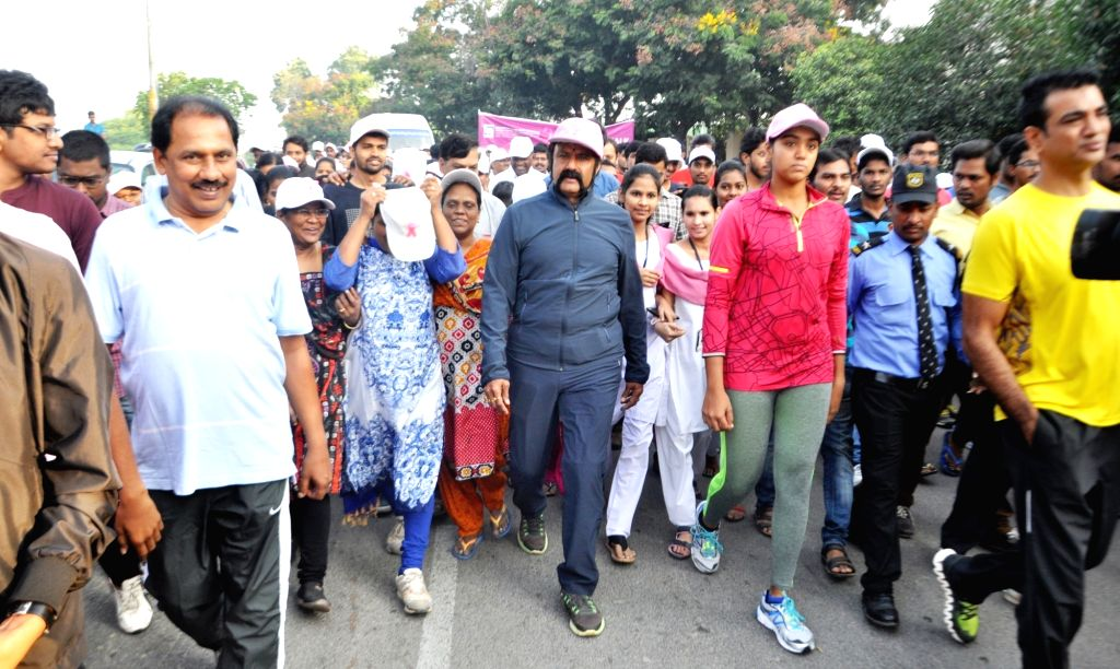 Actor Nandamuri Balakrishna during a breast cancer awareness walk in Hyderabad on Oct 26, 2016. - Nandamuri Balakrishna