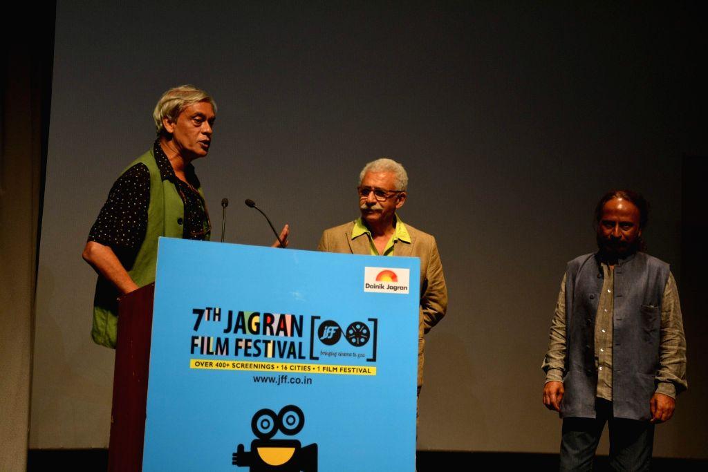 Actor Naseeruddin Shah and filmmaker Sudhir Mishra during Jagran Film Festival in New Delhi, on July 1, 2016. - Naseeruddin Shah and Sudhir Mishra