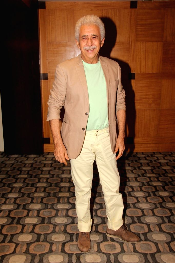 "Actor Naseeruddin Shah at the promotion of their upcoming film ""Aiyaary"" in Mumbai on Feb 1, 2018. - Naseeruddin Shah"