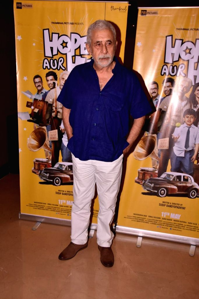 "Actor Naseeruddin Shah at the trailer launch of his upcoming film ""Hope Aur Hum"" in Mumbai on April 23, 2018. - Naseeruddin Shah"