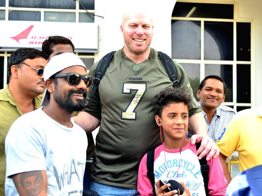 Actor Nathan Jones and filmmaker Remo D'Souza arrive at Jodhpur airport on Nov 1, 2015. - Nathan Jones