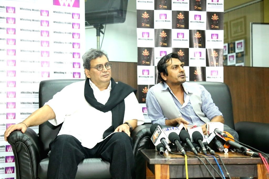 Actor Nawazuddin Siddiqui and filmmaker Subhash Ghai at the Whistling Woods International in Mumbai on Sept. 16, 2016, where he shared his his experience and journey secrets with WWI chief ... - Nawazuddin Siddiqui