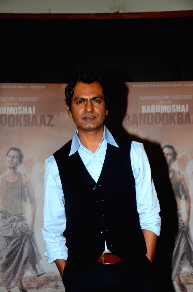 "Actor Nawazuddin Siddiqui during the promotion of his upcoming film ""Babumoshai Bandookbaaz"" in Mumbai on Aug 10, 2017. - Nawazuddin Siddiqui"