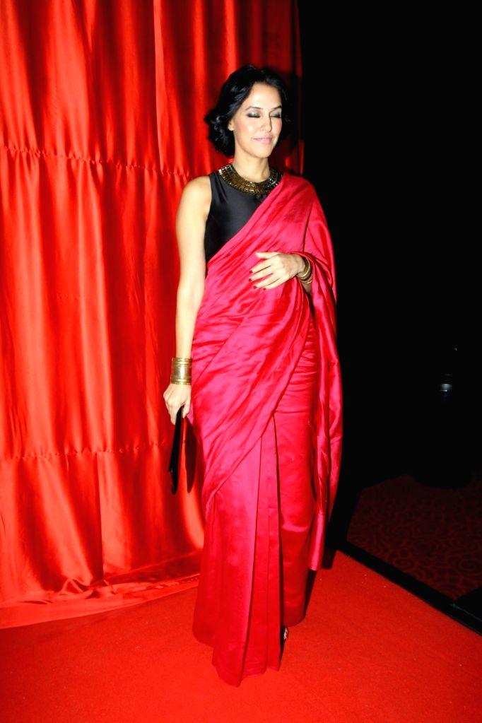 Actor Neha Dhupia during the trailer launch of film Ekkees Toppon Ki Salaami in Mumbai on Aug 11, 2014. - Neha Dhupia