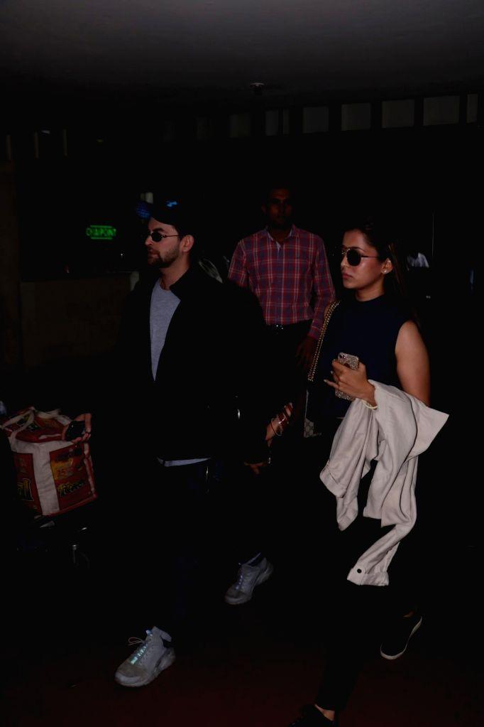 Actor Neil Nitin Mukesh along with his wife Rukmini Sahay spotted at Chhatrapati Shivaji Maharaj International Airport in Mumbai, on June 10, 2017. - Neil Nitin Mukesh