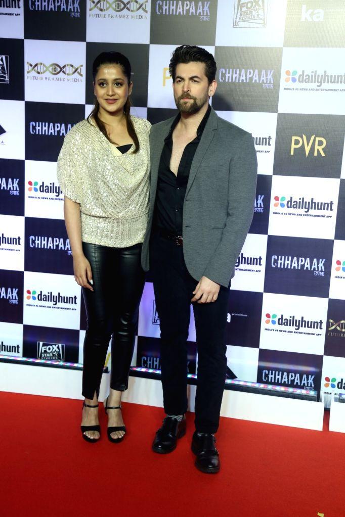 """Actor Neil Nitin Mukesh and his wife Rukmini Sahay at the screening of the film """"Chhapaak"""" in Mumbai on Jan 8, 2020. - Neil Nitin Mukesh"""