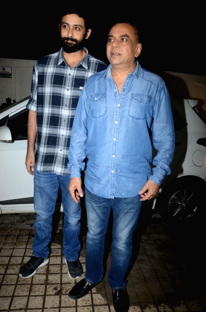 """Actor Paresh Rawal at the special screening of film """"Sanju"""", a biopic on actor Sanjay Dutt in Mumbai on June 28, 2018. - Paresh Rawal and Sanjay Dutt"""