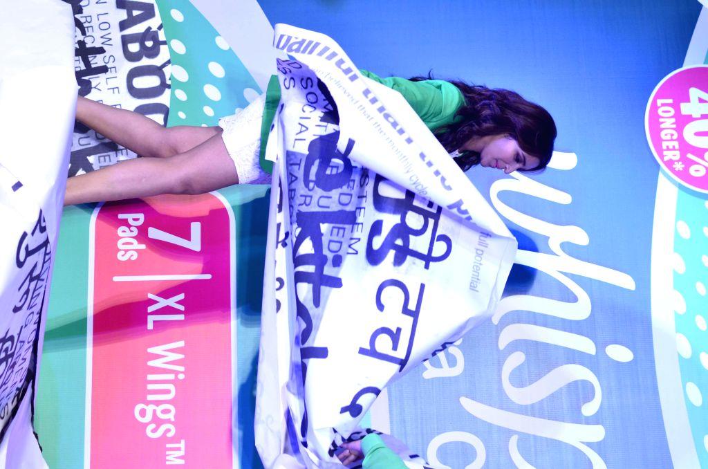 Actor Parineeti Chopra promotes Whisper sanitary napkins during the brands Touch the Pickle movement in Mumbai, on August 12, 2014. - Parineeti Chopra