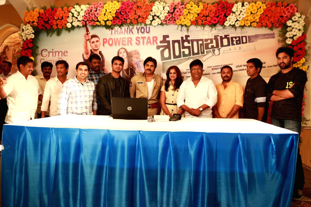 Actor Pawan Kalyan during the trailer of Telugu film `Sankarabharanam` . - Pawan Kalyan
