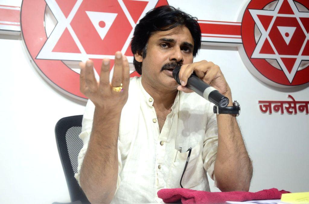 Actor Pawan Kalyan Press Meet in Hyderabad. - Pawan Kalyan Press Meet