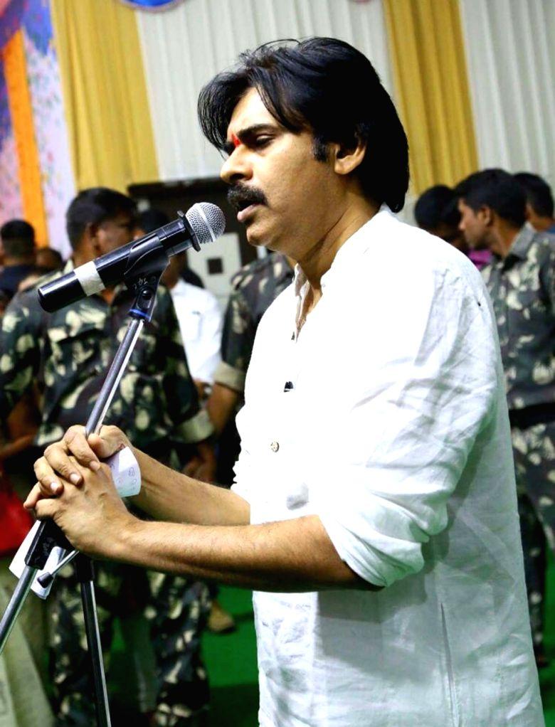 Actor-politician Pawan Kalyan addresses party workers in Telangana's Karimnagar District on Jan 23, 2018. The actor who launched his 'praja yatra' in Telangana on Monday, said his Jana ...