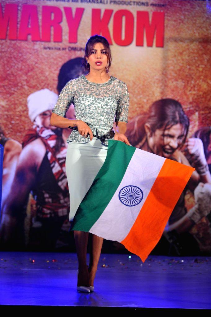 Actor Priyanka Chopra at music event of film Mary Kom in Mumbai on August 13, 2014. - Priyanka Chopra