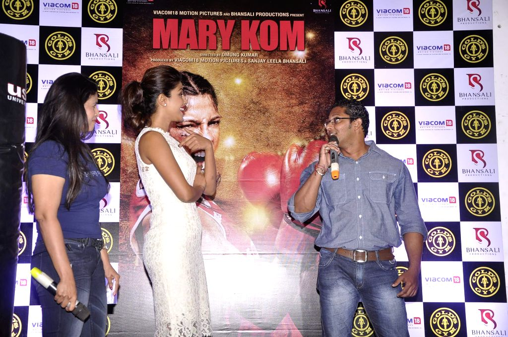 Actor Priyanka Chopra during the promotion of her movie Mary Kom, in Mumbai on September 6, 2014.