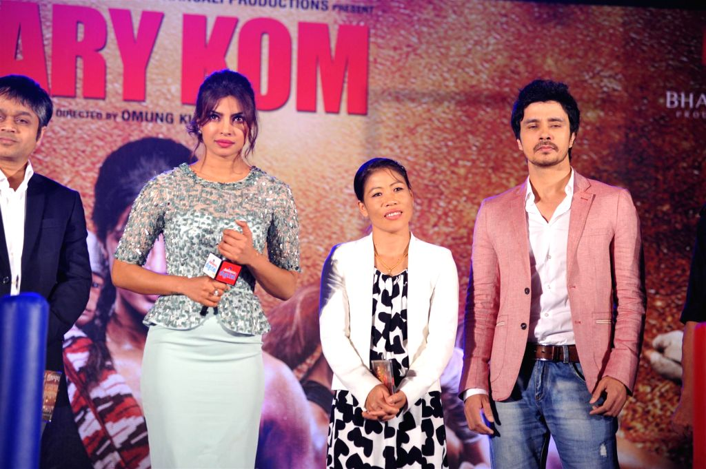 Actor Priyanka Chopra, Indian boxer Mary Kom and actor Darshan Kumar at music event of film Mary Kom in Mumbai on August 13, 2014. - Priyanka Chopra, Mary Kom and Darshan Kumar