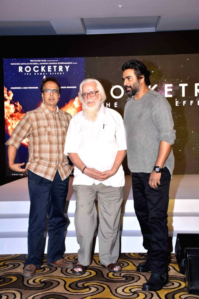 "Actor R Madhavan, screenwriter Ananth Mahadevan and former ISRO scientist Nambi Narayanan during the teaser launch of ""Rocketry - The Nambi Effect"" in Mumbai on Oct 31, 2018. - R Madhavan"